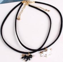 2016 Trendy unique design Cute unicorn necklace pendent choker lovely horse collar pendant for women girls gift jewelry(China)