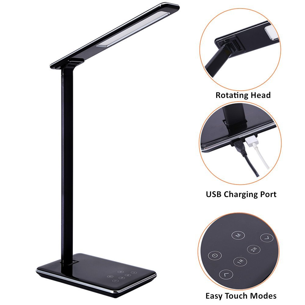 Folding Design LED Desk Lamp 5 Level Dimmable Touch Control Table Lamp Office Light with USB Charging port 1H/2H Auto Off Time <br>