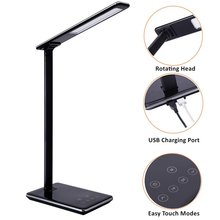 Folding Design LED Desk Lamp 5 Level Dimmable Touch Control Table Lamp Office Light with USB Charging port 1H/2H Auto Off Time(China)