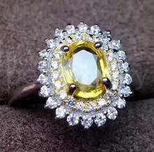 Natural yellow sapphire ring Natural real yellow sapphire Finger ring Free shipping 925 sterling silver 1ct gemstone(China)