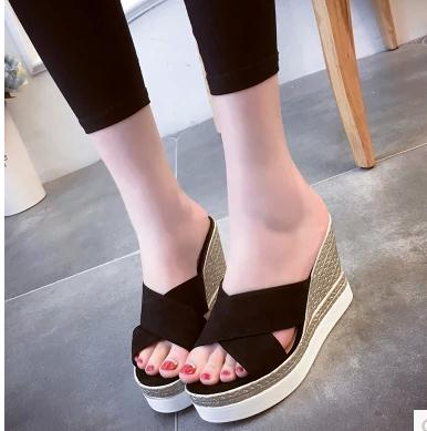 Fashion high heels wedge sandals candy color frosted straw thick bottom cross high-heeled slippers cool female waterproof<br><br>Aliexpress