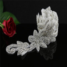 Rhinestone Applique 1 Yard Individual Crystal Rhinestone Applique Trim Bridal Accessories Wedding Dress Sash Applique Gown