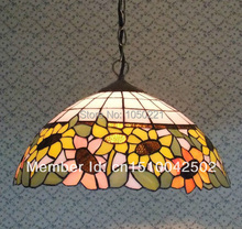 Tiffany Sun Flower Stained Glass Pendant Lamp European Idyllic Style Bar Coffee Shop Light Dia 40cm H 100cm(China)