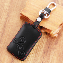 Leather Keyring For Renault Koleos Laguna 2 3 Megane 1 2 3 Sandero Scenic Captur Clio Duster Fluence 4 Button Renault Key Holder