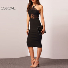 Buy COLROVIE Halter Contrast Lace Sheath Dress 2018 Spaghetti Strap Sleeveless Woman Dress New Pencil Stretchy Party Dress for $17.99 in AliExpress store