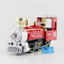 Free Shipping/Small/Classical Cartoon Steam train toy/Sound and Light/Diecast Metal Educational Pull back/For Children's gift