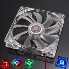 PC Computer Fan Quad 4 LED Light 120mm PC Computer Case 12V Cooling Fan Mod Quiet Molex Connector Easy Installed Fan Colorful(China)