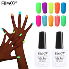 Elite99 10ml Night Glow In Dark Nail Gel Polish Fluorescent Luminous Nail Polish Lacquer 24 Candy Colors LED UV Lamp Pick 1(China)