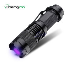 Zoomable LED UV Flashlight Torch Aluminum Alloy CREE LED UV torch Light Ultra Violet Light Blacklight UV Lamp 1* 14500 Battery(China)