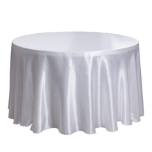 "10PCS 90""/108"" Decor Hotel Wedding Table Cloth Round Satin Table Overlay Dining Table Cover Black White Tablecloths Wholesale"