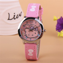 Hot Kezzi Top Brand Free Shipping New leather wrist watch children girl cartoon fashion hello kitty student quartz watch k-519