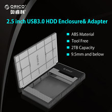 ORICO 2.5 Inch Semi-perspective HDD Enclosure Sata 3.0 to USB 3.0 HDD Case Tool Free for 7/9.5mm 2.5 in HDD and SSD 2TB Support(China)