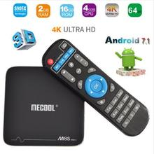 MECOOL M8S PRO+ Android 7.1 TV BOX Quad Core Smart TV BOX 2G+16G Flash Fully Loaded Internet Media Streamers H.265 4K Player(China)