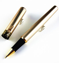 DIKA WEN Luxury Dragon Bright Gold squares roller ball pen s Medium Nib New