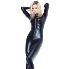 Buy Sexy Black Latex Leotard Catsuit Open Crotch Costume Wetlook Bodysuit Woman Animal Fuax Leather Catsuit Full Body Tights