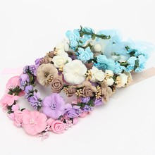 2Pcs/set Fashion Wedding Women Rose Flower Ribbon Wreath Crown Headband and Bracelet with Adjustable Garland+Hand Flower(China)