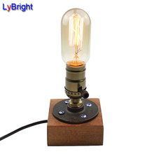 Vintage Loft E27 AC 110V/220V Dimmable Wood Wooden Table Lamp Desk Light For Living Room Bedroom Bedside Home Decor Coffee Shop