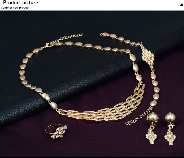 Gold Color Jewelry Necklace earring Ring Bangle Wedding Africa Bead Bridal Jewelry Sets women's clothing & accessories