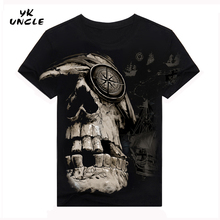 YK UNCLE Brand New Design 2017 Male Men T shirt Fashion Cotton O neck Hip Hop T shirt Men Skull Pirate Short Sleeves T-shirt