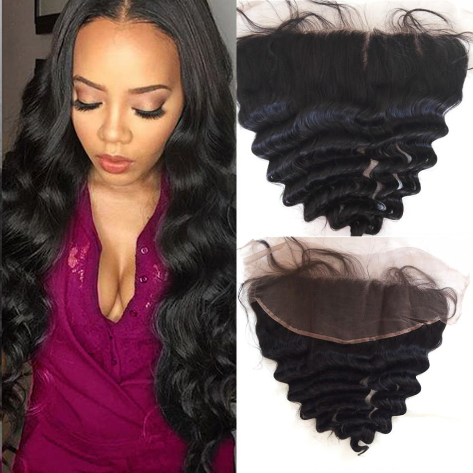 10A Unprocessed Virgin Hair Loose Wave Mongolian Lace Frontal Closure 13x4 Medium Brown Swiss Lace 8-22inch<br><br>Aliexpress