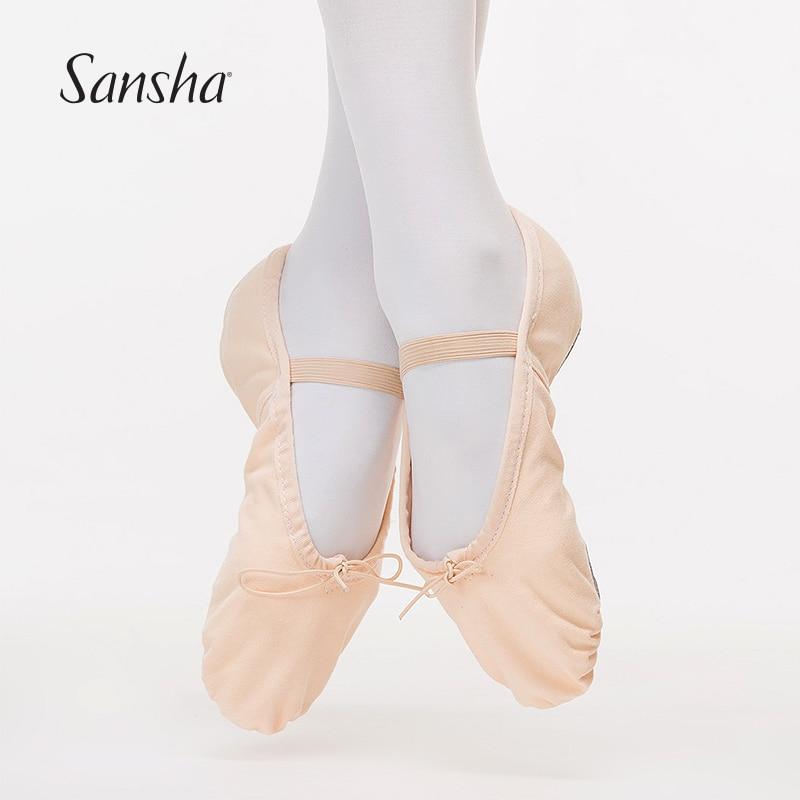 Child Girls Canvas Ballet Dance Soft Split-Sole Gymnastics Shoes Slippers Pink