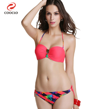 stripe print hot  metallic decoration bandeau top sexy bikini women swimwear