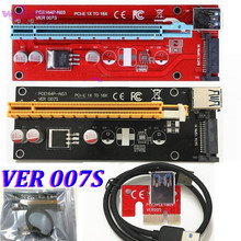 Latest 007S Red PCI-E PCI E Express Riser Card 1x to 16x SATA Molex Power Supply with USB 3.0 Data Cable For BTC Miner Machine