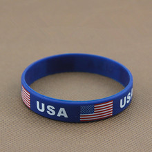 2pcs USA American Flag Sport Silicone Bracelets Hologram ID Wristbands World Cup Football Wrist Strap Bangle Outdoor Gifts