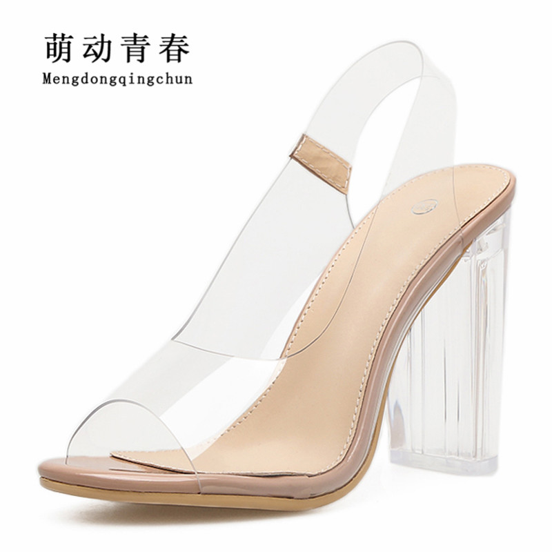New Women Sandals Fashion Gladiator Ladies Clear PVC Casual Slip on Shoes Women Sexy Rome Back Strap High Heel Sandals<br>