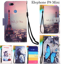 FSSOBOTLUN,For Elephone P8 Mini Phone Case Fashion Painting Patterns PU Leather Wallet Stand Flip Cover 2 Card Slots