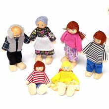 New Cute Wooden Furniture Dolls House Family Miniature 6 People Set Doll For Kid Child