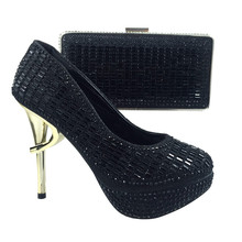 Sexy Black high heels Italian shoes and bags to match women dress,2693 party shoe and matching handbag with free shipping by DHL