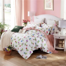 New Floral Bedding Set Twin Full Queen King Size Bed 100% Cotton Linen Quilt/Duvet/Doona Cover Set PillowCases Home Textile 3PCS(China)