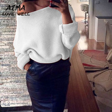 2017 New Arrival Christmas Sweater Women Loose Sexy Strapless Long Sleeve Bat Sleeve Elegant Lady Comfortable Tops 5 Colors S-XL