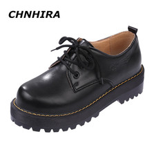 CHNHIRA British Style Women Oxfords New Spring Winter Lace-Up Flats Round Toe Creepers Casual Ladies Platform Shoes Woman#CH103