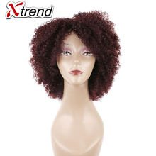 Xtrend 10inch 160g Short Synthetic Wig Kinky Curly Hairstyle Wigs For African Black Women Adjustable High Temperature Fiber(China)
