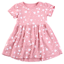 Pudcoco Kids Girls Jersey Dress Childrens Clothing Girls Dress Love Heart Print Country Girl Dress
