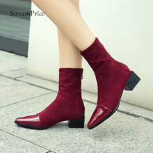 Frauen Fashion Square Toe Stiefel Starke Ferse Stiefeletten Zipper Flock Leder Winter Damen Schuhe Schwarz Rosa Wein Rot 2018 neue(China)
