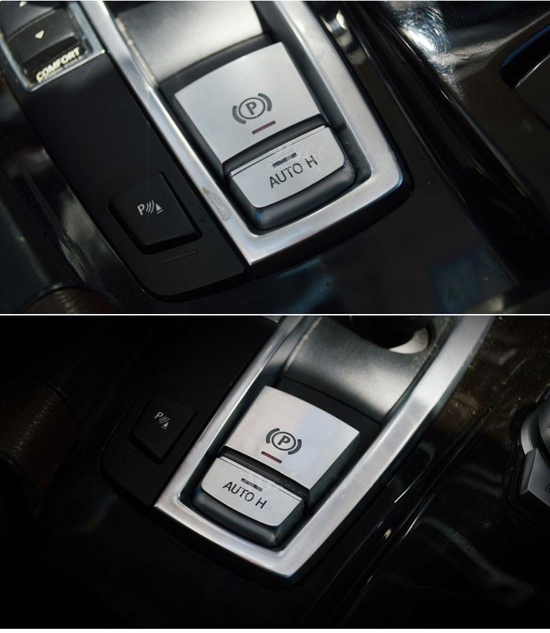 2 pcs Chrome Central Handbrake Auto H Button Decorative Cover Trim For BMW 567 Series X3X4X5X6 Car Styling (1)