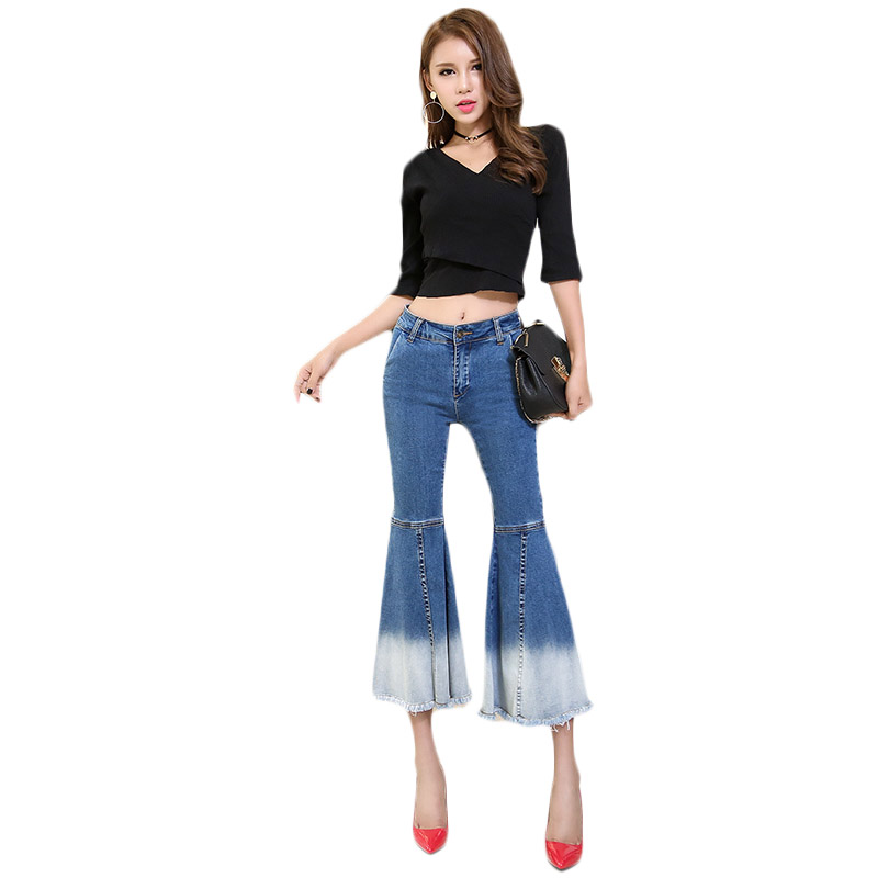 2017 slim butt-lifting plus size high waist big boot cut jeans trousers female blue wide leg pants elegant vintage flare pantsОдежда и ак�е��уары<br><br><br>Aliexpress