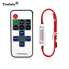 Tanbaby DC5-24V wireless mini led controller dimmer  11key RF remote control for single color led strip 5050 3528