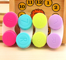 50PCS/LOT Cute Eye Contact Lens Case Simple Contact Lens Holder Travel Box Lenses Container Multi Color(China)