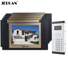 JERUAN Apartment 6 Doorbell Intercom 8 inch Video Door Phone Record Intercom System 700TVL IR Camera For 6 Call Button In stock(China)
