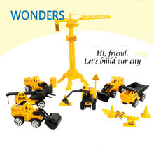2017 latest children's toys plastic car model toy engineer van series car gift simulation engineering Toys excavator, forklift