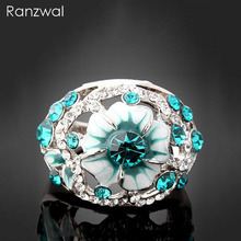 Ranzwal New Elegant Women Rings Luxury Oil Drip Eye of Evil Design Rhinestones Ring Party Jewelry US SIZE 6~9 ARI029(China)