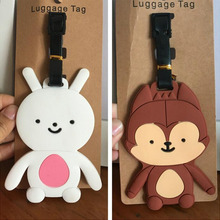 white rabbit Wolf PVC cosplay Keychain big luggage tag to hang the plane boarding pass bag tags hanging ornaments bags(China)