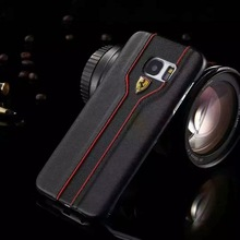Luxury PU Leather Case For Samsung S6 S6 edge S7 edge Phone Case Slim Hard PU Case Cover For Samsung S7edge With Ferrari Logo