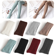 Buy Women Winter Warm Fashion Knit Knee Tight High Solid Color Cotton Tights Pantyhose Leg Warms Long Stockings
