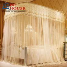 U type telescopic mosquito net 1.8m bed 1.5 meters double door household three curtains palace fishing rod stainless steel brack