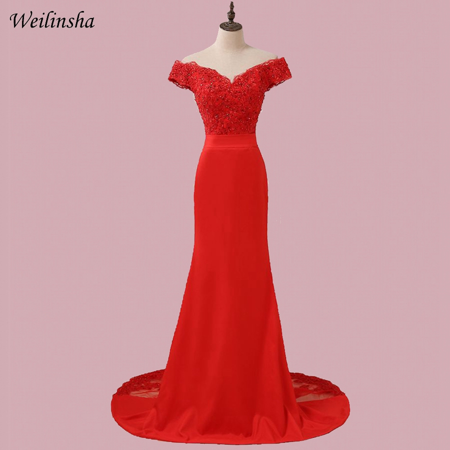 Weilinsha Red Mermaid Evening Dresses Long Off the Shoulder Robes De Soiree Cheap Formal Evening Gowns (China)